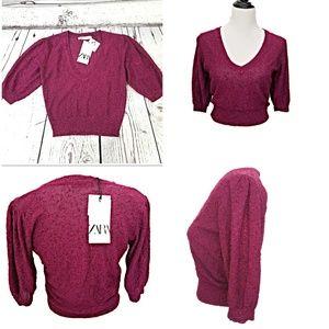 Zara Sweater NWT Size M Raspberry